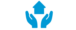 A blue icon of two hands holding up a house