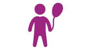 A purple icon of a child holding a balloon