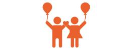 An orange icon of two children holding balloons