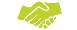 A green icon of two hands shaking.