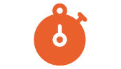 An orange icon of a stop watch