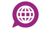 A purple icon of a speak bubble with a globe in the middle